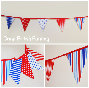 Great British Bunting: Hire for £1.50 per metre plus p&p. Red, blue and white dots and stripes